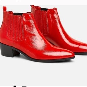 Modern Vice red patent leather western bootie